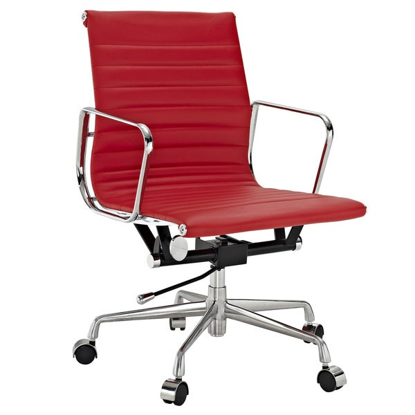 Red Genuine Leather Ribbed Mid Back Office Chair