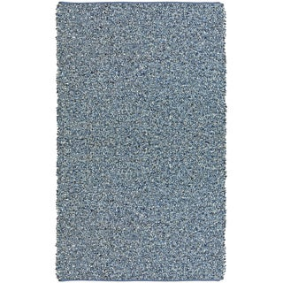 Hand-tied Pelle Blue Leather/ Denim Shag Rug (4' x 6')