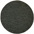 Hand-woven Matador Black Leather Rug (6' Round)