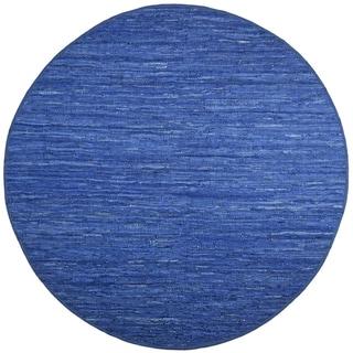 Hand-woven Matador Blue Leather Rug (6' Round)