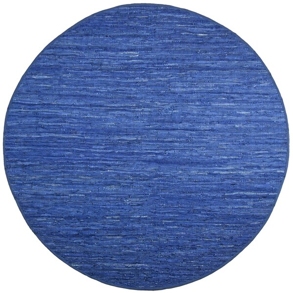 Hand-woven Matador Blue Leather Rug (6' Round)