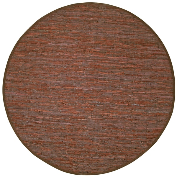 Hand-woven Matador Brown Leather Rug (6' Round)