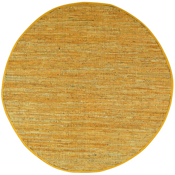 Hand-woven Matador Gold Leather Rug (6' Round)