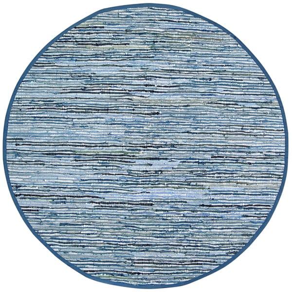 Hand-woven Blue Leather/ Denim Rug (6' Round)