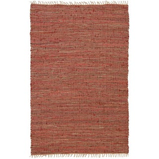 Hand-woven Matador Copper Leather/ Hemp Rug (2'6 x 4'2)