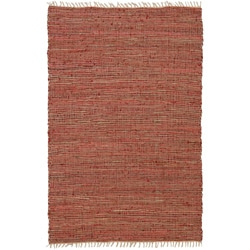 Hand-woven Matador Copper Leather/ Hemp Rug (5' x 8')