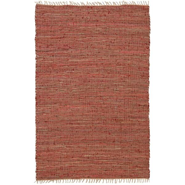 Hand-woven Matador Copper Leather/ Hemp Rug (5' x 8')