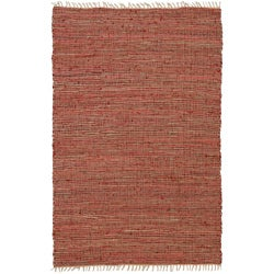 Hand-woven Matador Copper Leather/ Hemp Rug (8' x 10')