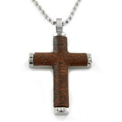 Stainlees Steel with Wood Inlay Cross Pendant