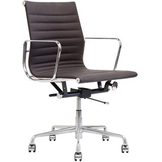 Brown Genuine Leather Ribbed Mid Back Office Chair