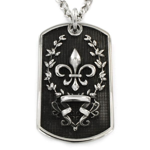 Stainless Steel Antiqued Fleur-de-lis Dog Tag