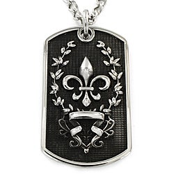 West Coast Jewelry Stainless Steel Antiqued Dog Tag with Fleur-de-Lis Pendant