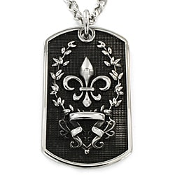 Stainless Steel Antiqued Dog Tag with Fleur-de-Lis Pendant