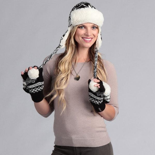 Muk Luks Women's Trapper Hat with Flip Glove Set