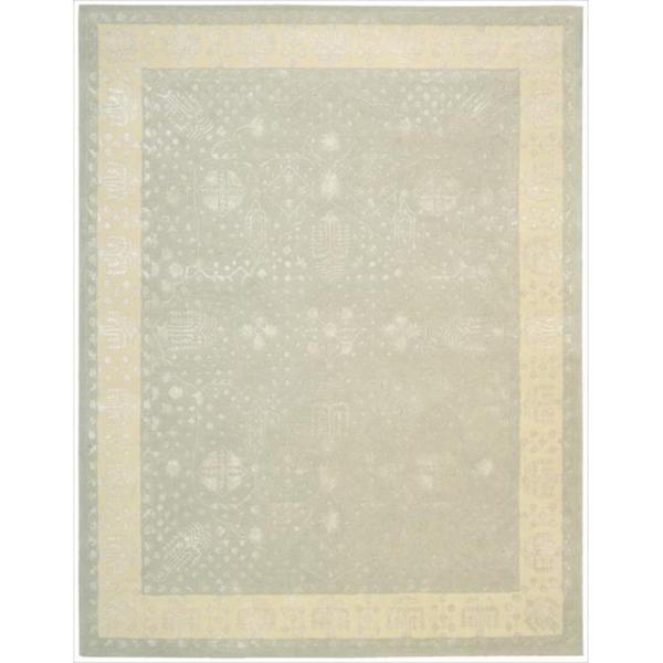 Nourison Hand-tufted Symphony Bordered Blue Mist Rug (8' x 11')