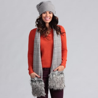 Muk Luks Women's Grey Pom Beanie with Pocket Scarf Set