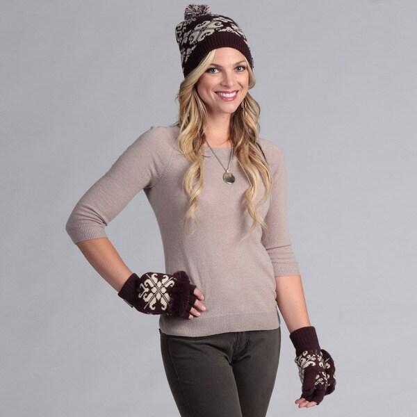 Muk Luks Women's Cuff Cap with Flip Glove Set