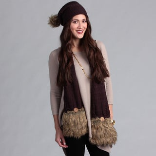 Muk Luks Pom Beanie and Pocket Scarf Set