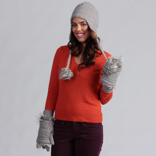 Muk Luks Women's Grey Pom Hat with 3-in-1 Gloves Set