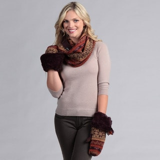 Muk Luks Funnel Acrylic Scarf with Toggle Mittens Set