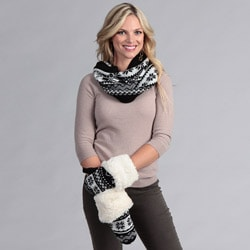 Muk Luks Funnel Scarf with Toggle Mittens Set