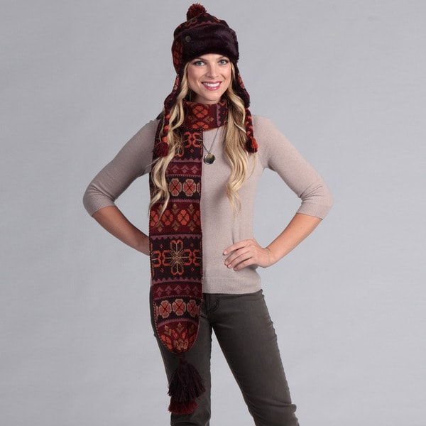 Muk Luks Women's Trapper Hat and Scarf Set