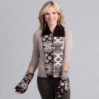 Muk Luks Women's Neck Wrap and Flip Gloves Set