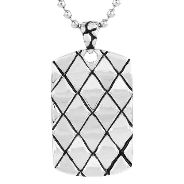 Polished Stainless Steel Textured Dog Tag Pendant