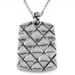 West Coast Jewelry Polished Stainless Steel Textured Dog Tag Pendant