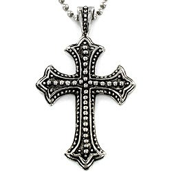 Crucible Stainless Steel Antiqued Cross Pendant