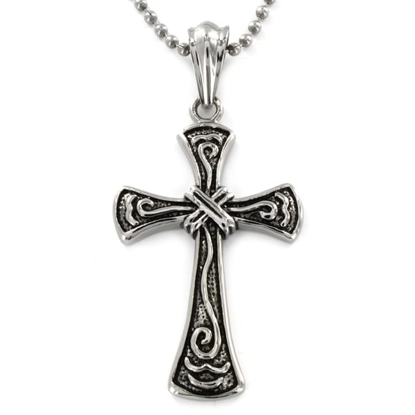 Stainless Steel Wrap Design Antiqued Cross Pendant