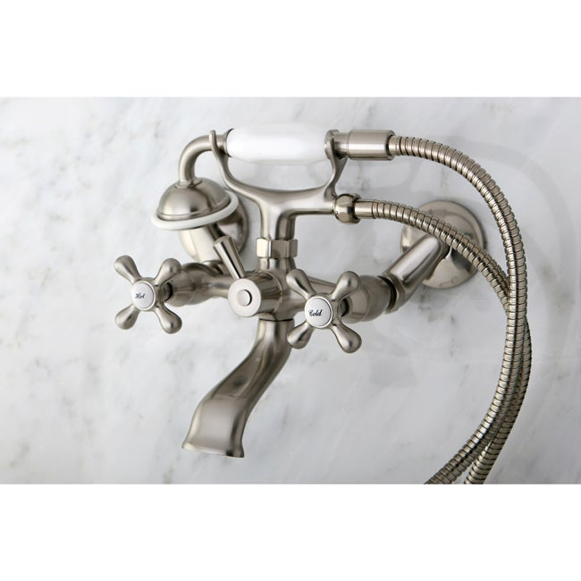 Victorian Tub Wallmount Satin Nickel Clawfoot Bath Tub Faucet