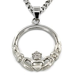 ELYA Stainless Steel 'Claddagh' Circle Pendant