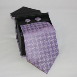 Ferrecci Men's 3-piece Lavender Square Necktie Set