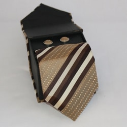 Ferrecci Men's 3-piece Brown Striped Necktie Set