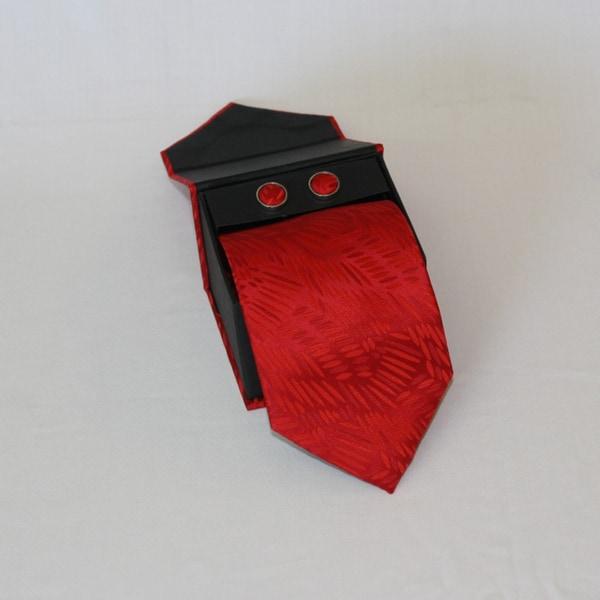 Ferrecci Men's 3-piece Red Grain Necktie Set