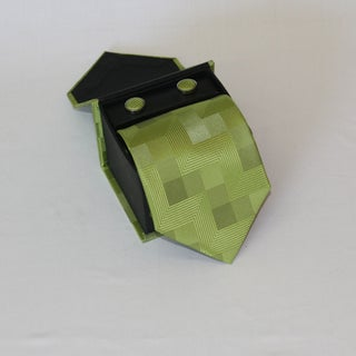 Ferrecci Men's 3-piece Green Lined Necktie Set