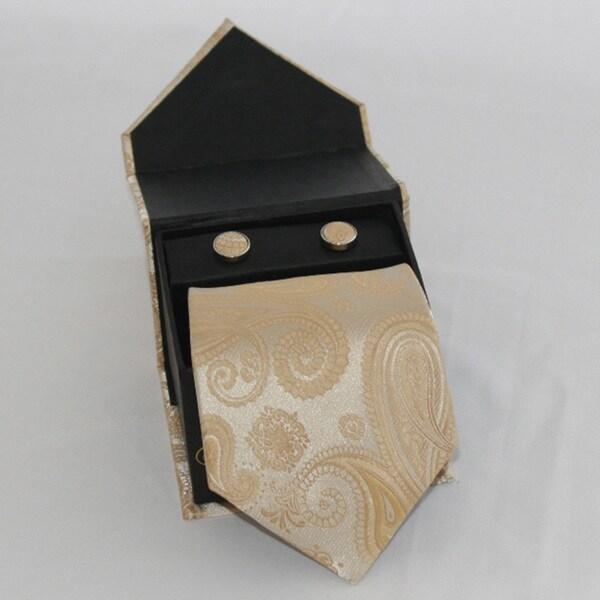 Ferrecci Men's 3-piece Gold Paisley Necktie Set
