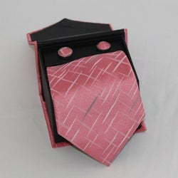 Ferrecci Men's 3-piece Pink Square Necktie Set