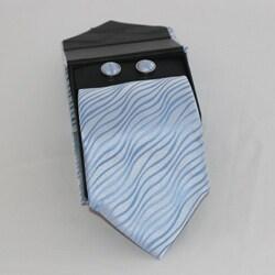 Ferrecci Men's 3-piece Sky Blue Necktie Set