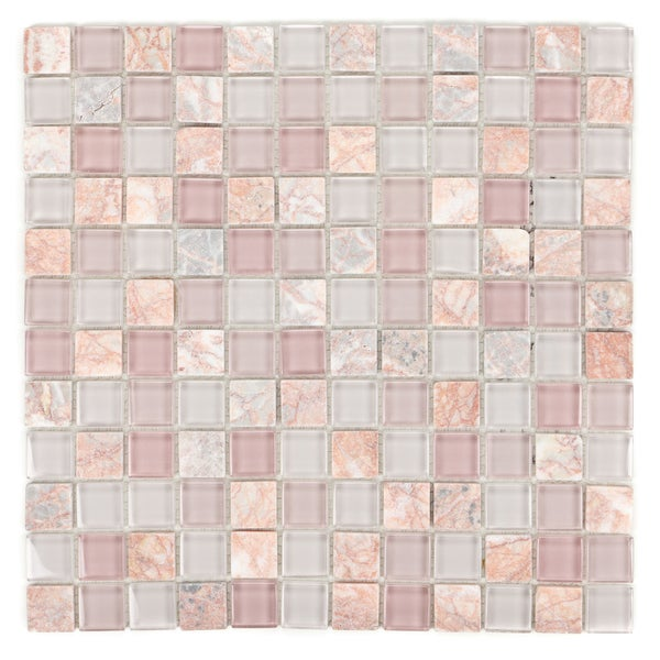ICL E-2109 Pink Glass Stone Mix Tiles (Case of 11)