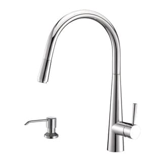 Ruvati RVF1221K1CH Pullout Spray Kitchen Faucet with Soap Dispenser - Polished Chrome