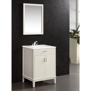 Oxford White 24 Inch Bath Vanity With 2 Doors And White