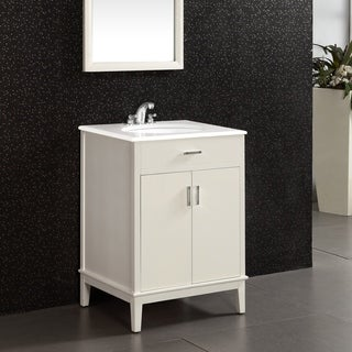 Oxford White 24-inch Bath Vanity with 2 Doors and White Quartz Marble Top