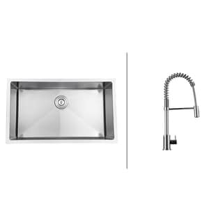 Ruvati RVC2301 Stainless Steel Kitchen Sink and Polished Chrome Faucet Set