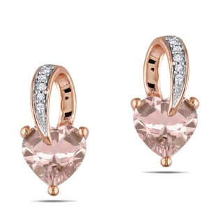 Miadora 10k Pink-gold Morganite and Diamond Heart Earrings (H-I, I2=I3)