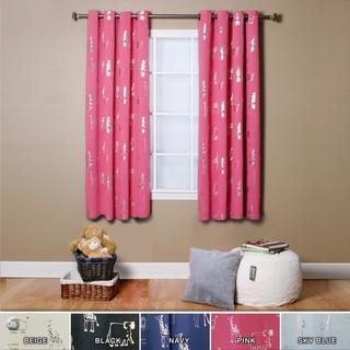 Animal Foil Printed Grommet Top Blackout Curtain Pair