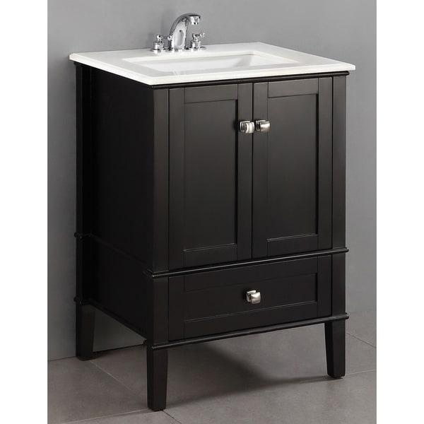 wyndenhall windham black 2 door 24 inch bath vanity set with bottom drawer and white quartz