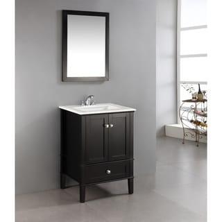 Windham black 24 inch bath vanity with 2 doors bottom - Bathroom vanity with bottom drawer ...