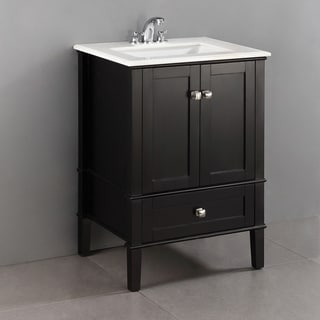 Windham Black 24-inch Bath Vanity with 2 Doors, Bottom Drawer and White Quartz Marble Top